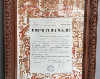 Old framed certificate of studies, french graduation, office decoration