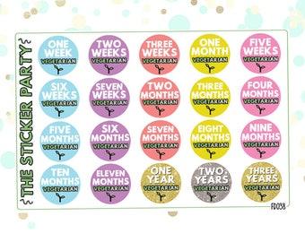 Vegetarian Planner Stickers Tracker Vegetarian Milestone Achievements