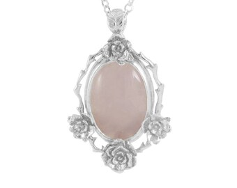 Sterling Silver Necklace, Rose Quartz Necklace, Mini Rose Pendant, Statement Necklace,  Rose Necklace,  Handmade Necklace, Stone Necklace