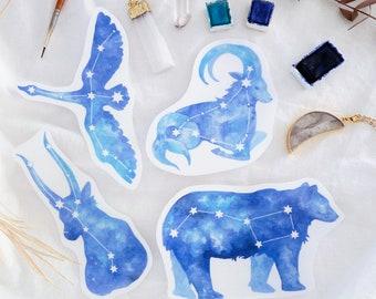 Star Sign Sticker Art   Constellation Stickers Watercolor Illustration Print, Zodiac Signs Hand Drawn Transparent Sticker   Ursa Major Orion