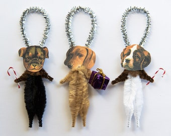 Christmas Dogs Chenille Ornaments - Dog Christmas Ornaments