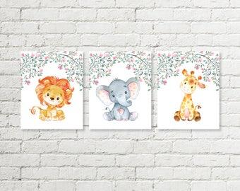 Safari Nursery Print, Baby Elephant Lion Giraffe Girls Printable Wall Art, Delicate Floral Blush Pink Green Decor 8x10 Instant Download