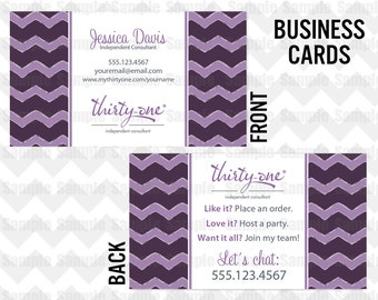 Thirty-One Business Card Printable Direct Sales MLM Business Card Chevron