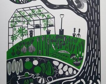 Limited Edition Screenprint : Vegetable Garden