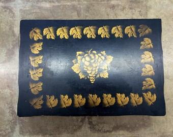 Vintage Gold and Black Wood Silverware Box
