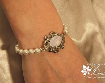Bracelet de mariage rétro perles nacrées et cabochon en cristal rose opal - Bridal rhinestone bracelet