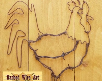 Rooster - Handmade metal decor barbed wire art country western wall sculpture
