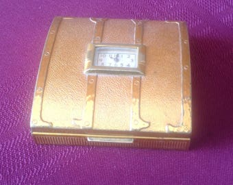 Vintage Evans Compact/ Steamer Trunk with Built in Clock/ Goldtone Powder Compact - 1940's