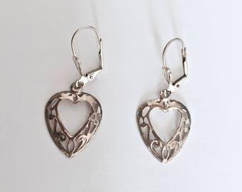 Elegant, Vintage Lever Back Sterling Silver Dangle Earrings, Open Heart Filigree Drop Earrings, Classic Open Heart Earrings