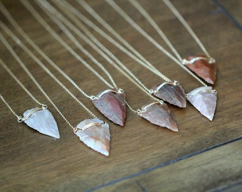 Arrowhead Necklace , Jasper Natural Gemstone , Gold Sterling Rose , Long Layering Bohemian Tribal Fashion