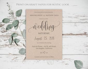 Calligraphy Invitation Suite, Modern Calligraphy Wedding, Wedding Invitation, Invitation Printable, Wedding Invitation Template, Kraft, 0019