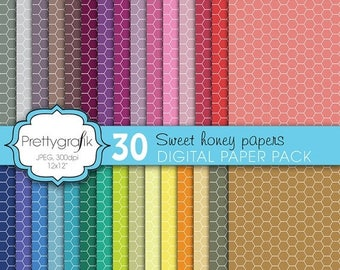 80% OFF SALE honeycomb hexagonal digital paper, commercial use, scrapbook papers, background - PS600