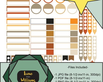 Thankful November, Orange and Browns, Big & Classic Happy Planner Stickers, Personal Use Only!