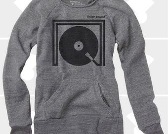 Listen Round, Women's Sweatshirt, Women Clothing, Wide Neck Sweatshirt, Oversize Sweatshirt, Slouchy Sweatshirt, Turntable, Music Sweatshirt