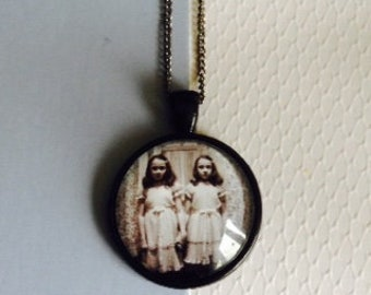 Classic Horror Gothic Style The Twin Girls From The Shining Black Movie Pendant