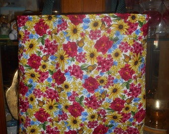 Flowers & Butterflies Tote Bag Beautiful Florals Fun Lunch or Book Bag Great Gift Handmade Purse