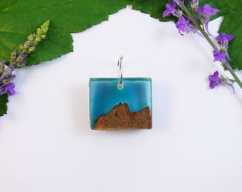 Handmade wood and resin pendant, navy blue abstract mountain