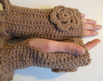 Brown women fingerless gloves crocheted with acrylic yarn, mothers