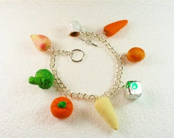 Winter Vegetable Charm Bracelet. Polymer clay.