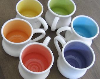 Large Mugs, Rainbow Pottery Coffee Mugs, Wedding Gift, Set of 6 Stoneware Pot Belly Cups 16 oz. Coffee Gift