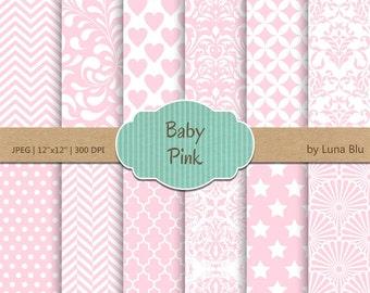 "Baby Pink Digital Paper: ""Baby Pink Patterns"" soft pink, light pink, pale pink, pastel pink, for invitations, scrapbooking, cardmaking"
