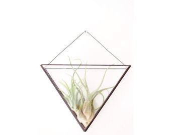 Geometric glass wall terrarium - Indoor wall planter - Modern planter - Modern home decor - Minimalistic - Tiffany stained glass - Air plant