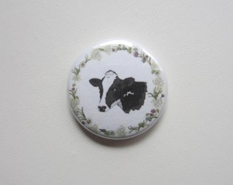 Cow Portrait Vegetarian pinback button badge