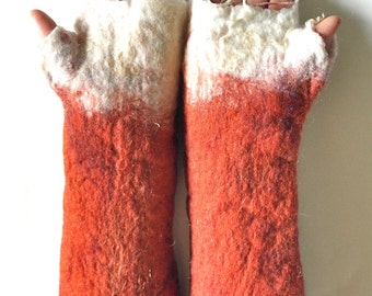 Fingerless fox gloves, hand felted animal cuffs fancy dress costume accessory in rust red and burnt orange