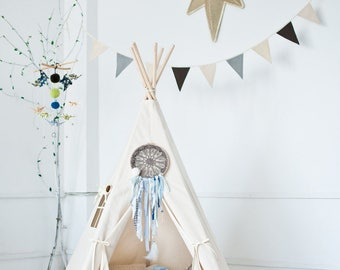 "Set tipi tent and floor-Set Teepee and quilted mat-Set teepee with mat-Set steppdecke und tipi-  ""beige"""