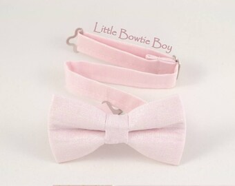 Light Pink bow tie with silver pearl texture, Baby Pink Cotton bowtie for boys, adjustable pretied kids bowtie, metal hook adjustable