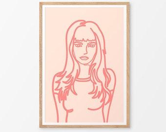 Rosa Art Print / Feminine Art  / Pink / Contemporary / Girl / Pop Art / Giclee Print / Poster / Figure /
