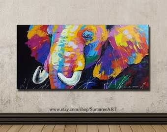 40 x 80 cm, Colorful elephant painting on canvas  wall decor paintings