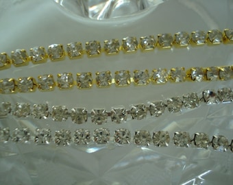 4mm Rhinestone Cup Chain with Close Crystals ss16 in Gold or Silver Tone Settings