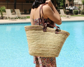 Jute Trim French Market Bag, French Market Basket, Straw Tote, Straw Bag, French Basket, Shopping Basket, Eco Friendly Bag, Moroccan Bags