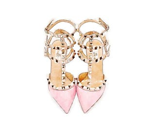 Maison Valentino Rocketed DIGITAL ART PRINT Pink Studded High Heels Print from Watercolor Painting, Fashion Illustration