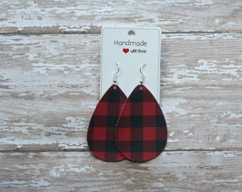 Red Buffalo Plaid Print Faux Leather Teardrop Drop Earrings