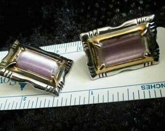 Pink Moonglow art glass earrings rectangle two tone gold silver tone pierced dangle pink stone earrings