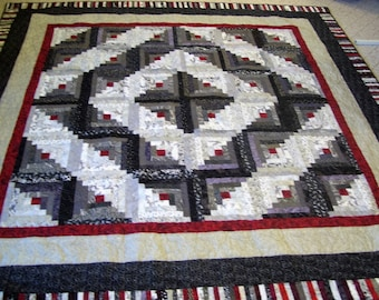 Log Cabin Quilt Brown And Blue Quilt Queen Size Log Cabin