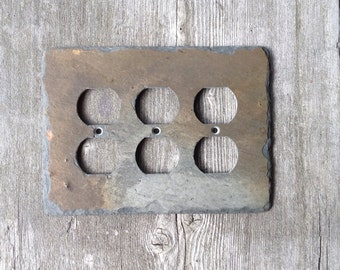 Upcycled Slate Switchplate Triple Outlet Cover Wall Light Switch Plate Rustic Recycled Reclaimed Vermont Slate