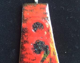 Fused glass semi colon pendant