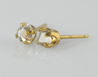 Stunning Clear Recycled Herkimer Diamond Earrings Eco Jewelry