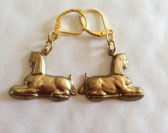 Egyptian Sphinx handmade raw brass earrings for pierced ears nickel free