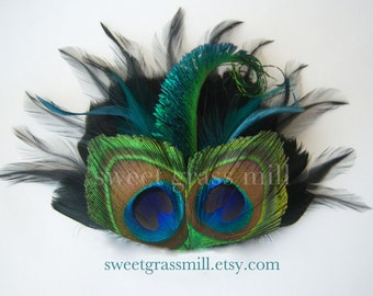 Peacock Fascinator - BELLA FIORE in BLACK - Peacock, Black and Teal Feathers - Choose Headband or Clip
