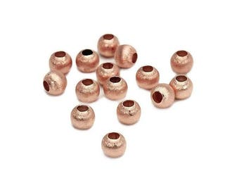 Rose gold plated brushed silver bead round 4 mm SB0042MPK PK0413