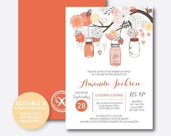 Instant Download, Editable Mason Jar Baby Shower Invitation, Mason Jar Invitation, Orange Mason Jar Invitation, Baby Sprinkle (SBS.93)