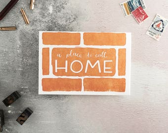 A Place To Call Home Letterpress New Home Congratulations Card