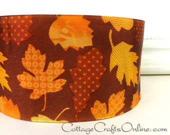 "Fall Wired Ribbon, 2 1/2"" wide, Brown, Gold, Orange Leaf Pattern - TEN YARDS - Offray ""Foliage Patchwork"" #8062034 Autumn Wire Edged Ribbon"