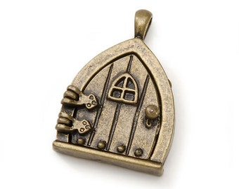 Fairy Wish Door Locket, with Hinges and Triangle Top, Bronze Finish #BG2001