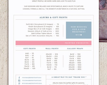 Pricing Guide Template For Wedding Photographers   Wedding Album Printed  Products Price List   Photoshop Files