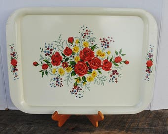 Vintage Off White Floral Metal Serving Tray